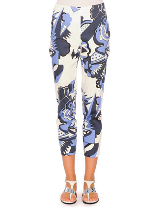 Depero Monia-Print Cropped Pants, Blue