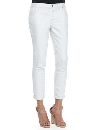 Relaxed-Fit Cuffed Ankle Jeans, White