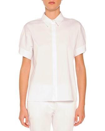 Short-Sleeve Fringe-Trimmed Jacket, Short-Sleeve Pleated-Back Poplin Blouse ...