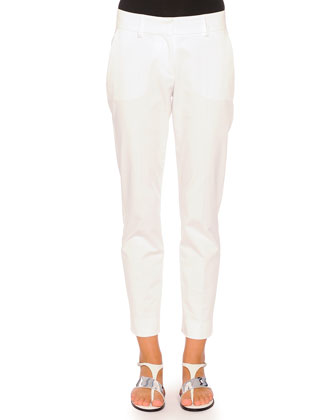 Kim Flat-Front Ankle Pants, White