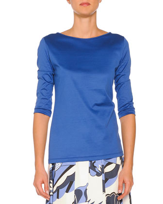 3/4-Sleeve Boat-Neck Tee, Blue
