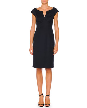 Cap-Sleeve Sheath Dress, Navy