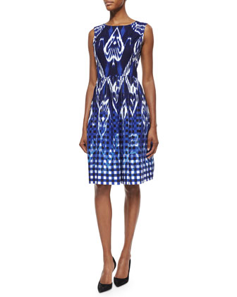 Ikat Gingham Fit-and-Flare Dress, Navy