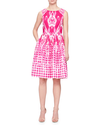 Ikat Gingham Fit-and-Flare Dress, Magenta
