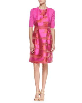 Classic Half-Sleeve Shrug & Metallic Space-Dyed Full-Skirt Dress