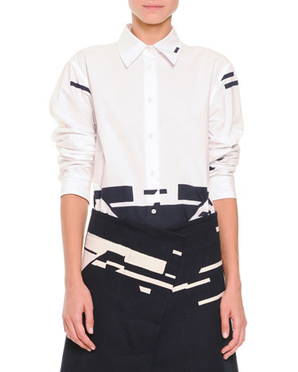 Broken Stripe-Print Button Blouse, White