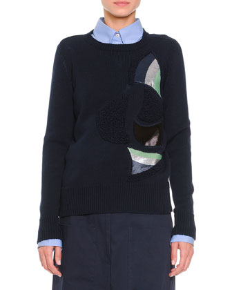 Shimmer & Textured Fan-Inset Sweater, Navy