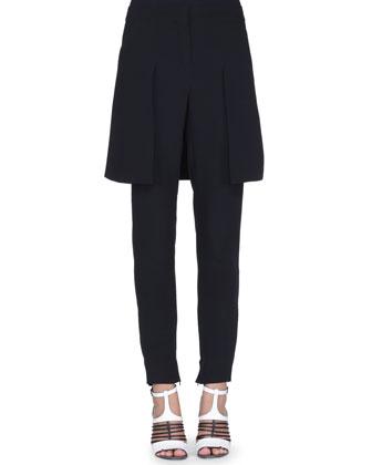 Overskirt Flat-Front Pants, Black