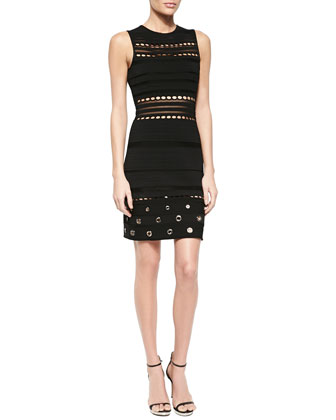 Grommet-Detailed Open-Knit Bandage Dress, Black