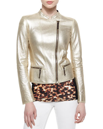 Metallic Laminated Leather Moto Jacket, Tortoise-Print Contrast-Side Top, ...