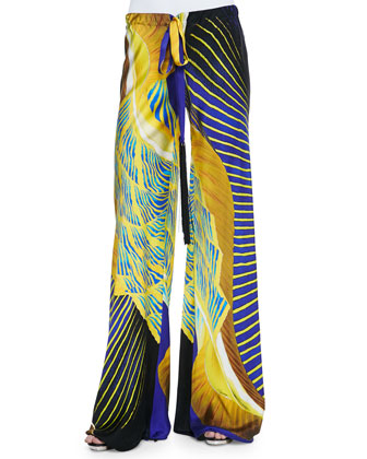 Abstract-Print Tassel-Drawstring Palazzo Pants, Yellow/Blue