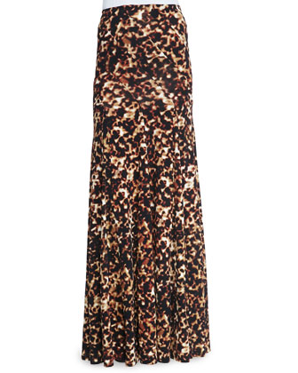 Tortoise-Print Bias-Seamed Skirt, Brown