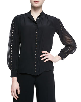 Grommet Studded Accordion-Sleeve Blouse, Black