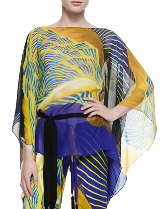 Classic Abstract-Print Short Caftan, Yellow/Blue