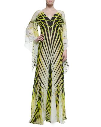 Palm-Print Kimono-Sleeve Caftan Gown