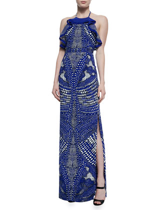 Armadillo-Print Cascading Ruffle Halter Gown, Cobalt