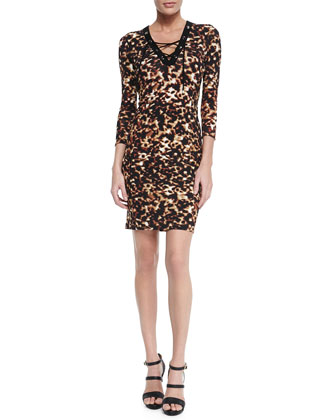 Lace-Up Tortoise-Print Sheath Dress