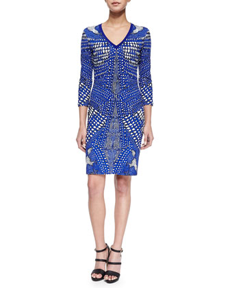 Three-Quarter-Sleeve Armadillo-Print Sheath Dress, Cobalt