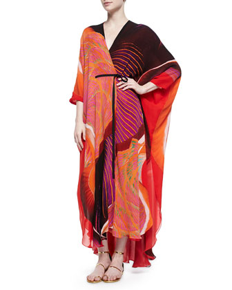 Nika Mixed-Print Charmeuse Caftan, Orange/Red