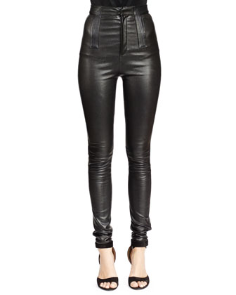 V-Seamed Lace-Up Bodysuit & High-Waist Skinny Leather Trouser, Black