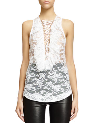 Lace-Up Ruffled Bib Lace Top, White