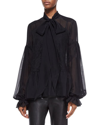 Scarf-Neck Chantilly Lace-Inset Blouse