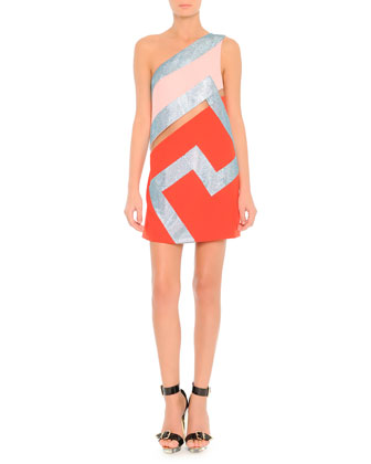 One-Shoulder Crystal Colorblock Dress