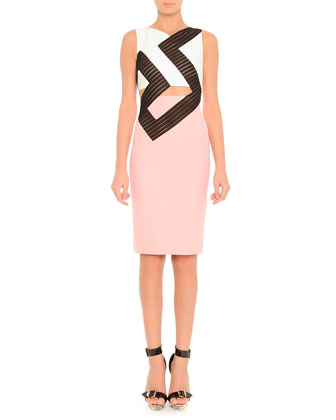 Lace Key Inset Colorblock Dress, Pink/White/Black