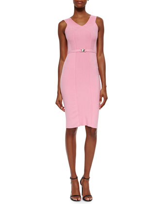 Ribbed-Knit Belted Tank Dress, Pink