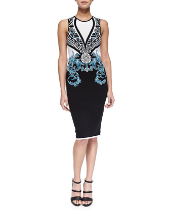Scrolling Intarsia Knit Sheath Dress