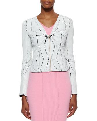 Leather Soutache Zip-Front Jacket
