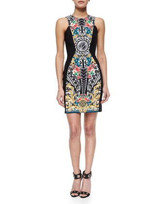 Ornate-Print Cut-In Sheath Dress