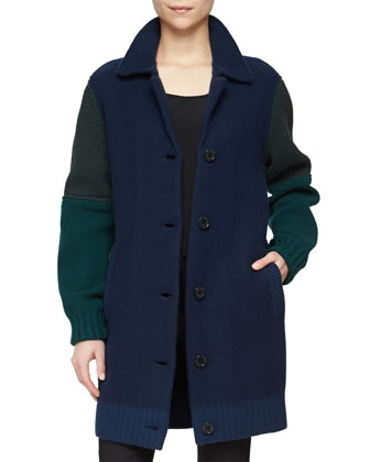Multi-Gauge Bicolor Coat, Dark Navy
