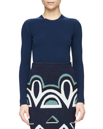 Crewneck Pinked-Seam Knit Sweater & Needlepunch Geometric-Print Wool Skirt