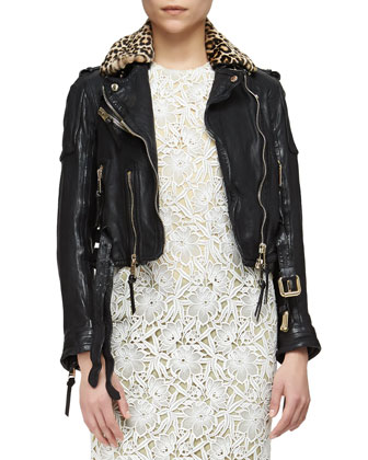 Leopard-Print Fur Collar Leather Biker Jacket, Black