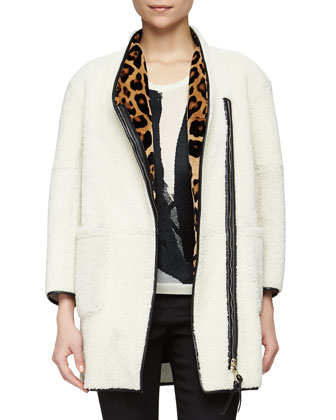 Mink-Lined Shearling Fur Coat, Brushstroke-Embroidered Slub-Knit Tee & ...