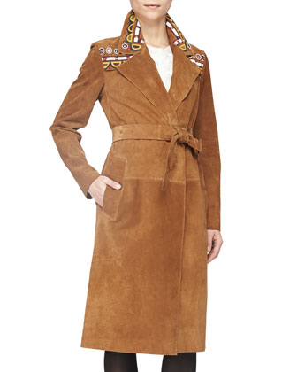 Embroidered Suede Wrap Trench Coat, Sepia Brown