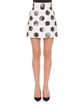 Sleeveless Painted Polka Dot Top & Painted Polka Dot A-Line Skirt, ...