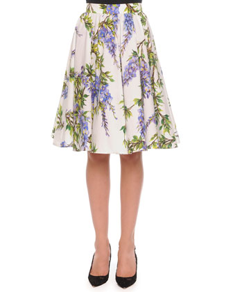 Wisteria-Print Pleated A-Line Skirt, White/Lavender
