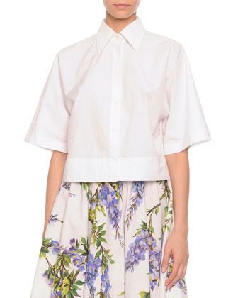 Button-Front Boxy Blouse, White