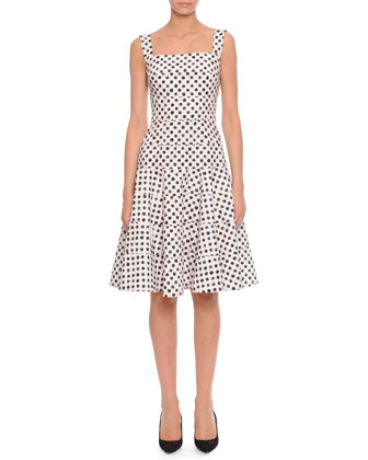Polka Dot Tiered A-Line Dress, White/Black