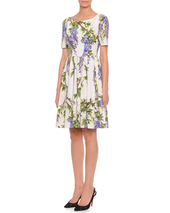 Wisteria-Print Pleated Fit-And-Flare Dress, White/Lavender