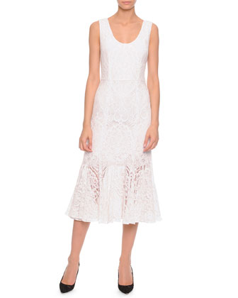 Lace Flounce-Skirt Tank Dress, White