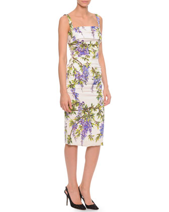 Wisteria-Print Side-Ruched Dress, White/Lavender