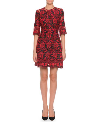 Bicolor Lace Mini Dress, Red/Black