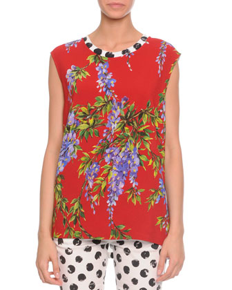 Floral-Print Polka Dot Combo Top, Red Multi