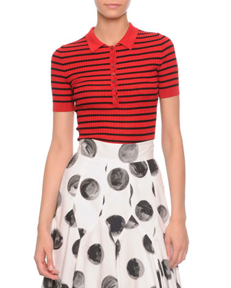 Striped Ribbed Polo Shirt & Painted Polka Dot Full Skirt