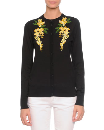 Floral-Embroidered Knit Cardigan, Black