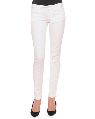 Flat-Front Slim Pants, White