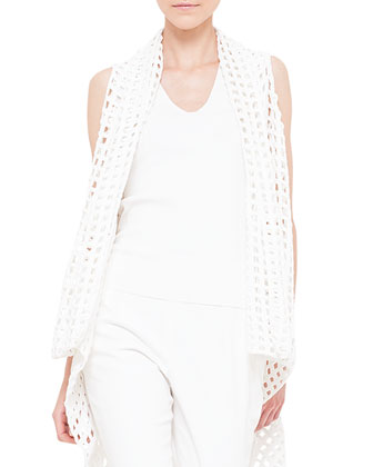 V-Neck Knit Tank Top, Calcite
